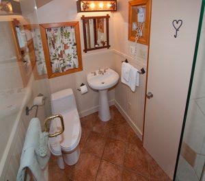 Bathroom of cabin at Alpine Village Jasper